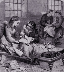 'Lady Visitors Helping Out' (1865)