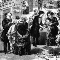 Engraving showing Dr Jenner and Dr West tending to patients