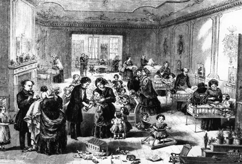 Ward in the Original Hospital. William Jenner is standing on the extreme left, with Charles West left centre. (1858)
