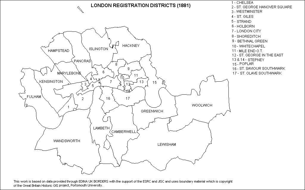 Map showing London registration districts