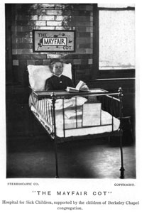 The Mayfair Cot was sponsored by the children of the congregation of Berkeley Chapel