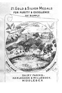 Advert for one of the many milk companies in London