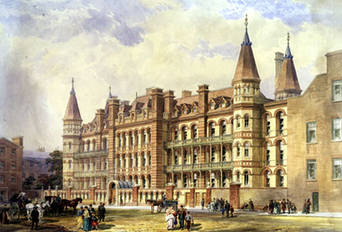 Engraving of the New Hospital on Powis Place, opened 1875.