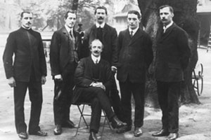 Wycliffe Peck and his pharmacy team – early 20th century